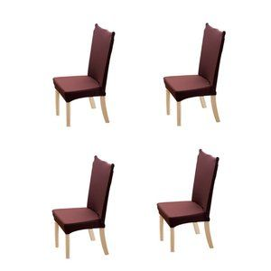 4-Pack Kitchen Chair Cover Slipcover Dark Brown